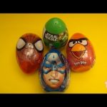 4 JUMBO Surprise Eggs! Angry Birds Spider-Man Captain America Avengers Star Wars