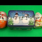 A Christmas Party! Opening a Christmas Tin Filled with Surprises and 2 Jumbo Kinder Surprise Eggs!