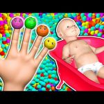 Baby Bath Color Balls Finger Family 3D for Kids to Learn Colors | Surprise Eggs Nursery Rhymes Song