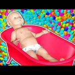 Baby Doll Bath Time Learn Colors Collection 1 HOUR – Teach Colours 3D for Kids Toddlers
