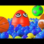 Ball Pit Show 3D Playroom for Children to Learn Colors  – Giant Surprise Eggs with Sports Balls