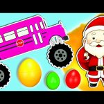 Colors for Kids to Learn | Monster Truck School Bus & Christmas Songs | Surprise Eggs Learn Colours