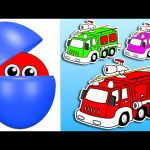Counting Fire Trucks | Learn Colors & Numbers for Kids | Animated Surprise Eggs filled with Colours