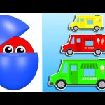 Counting Ice Cream Trucks | Learn Colors & Numbers for Kids | Surprise Eggs filled with Colours