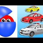 Counting Police Cars | Learn Colors & Numbers for Kids | Animated Surprise Eggs filled with Colours