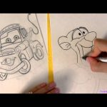 Drawing Disney Tigger with Pixar Mater together how-to draw