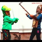 Fight  Warrior VS  Monster. Kids playing. Funny video  for boys