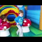 Fun at indoor playgound for kids. They playing with a lot of toys