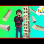 GIANT JENGA like Wooden Tumbling Tower Family fun game for kids Kinder Egg Surprise Toys
