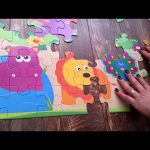 Giant puzzle for kids with animals : lion, hipo, giraffe, tiger, elephant….