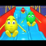 Giant Slide 3D For Kids   Surprise Eggs Learn Colors Balls Indoor Playground Family Fun Play Center