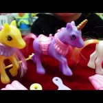 Girls pony toys. Kids unboxing 4 little pony . Funny video