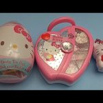 Hello Kitty Surprise Egg Opening Party!  With a Candy Makeup Case and Jumbo Surprise Egg!