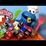 Hungry Cookie Monster Eats Cars Micro Drifters With Radiator Springs Drift Challenge Track Cars 2