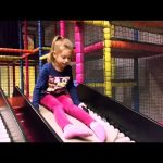 Indoor playground for kids with slides. Family fun video from KIDS TOYS CHANNEL
