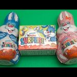 Kinder Surprise Egg Easter Party!  Opening 2 Huge Surprise Easter Bunnies!