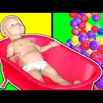 Learn Colors Collection 1 HOUR – Teach Colours for Kids Baby Toddler with Baby Bath & 3D Color Balls