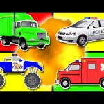 Learn Colors Collection Vol. 2 – Teach Colours for Kids Baby Toddler with Monster Truck & Police Car