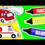 Learn Colors & Vehicles: Fire Truck ★ Coloring Book ★ Teach Colours for Kids Baby Toddler