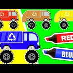 Learn Colors & Vehicles: Garbage Trucks ★ Coloring Book ★ Teach Colours for Kids Baby Toddler