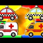 Learn Colors with Ambulance & Taxi Car   Teach Colours with Street Vehicles   Animated Surprise Eggs