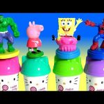 Learn Colors with Play Doh Hello Kitty Using Play-Doh Stampers Peppa Pig, Hulk, SpongeBob, Spiderman