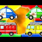 Learn Colors with Police Cars & Fire Trucks   Teach Colours Street Vehicles   Animated Surprise Eggs