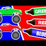 Learn Colours & Vehicles: Monster Trucks ★ Coloring Book ★ Color Lesson for Kids, Toddlers & Babies