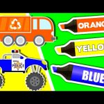 Learn Colours & Vehicles: TRUCKS ★ Coloring Book ★ Color Lesson for Kids, Toddlers & Babies