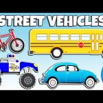 Learning Street Vehicles Names and Sounds   Cars and Trucks for Kids   Animated Surprise Eggs TV
