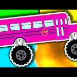 Monster Truck School Buses – Colours & Crushing Words – Animated Surprise Eggs for Learning Colors