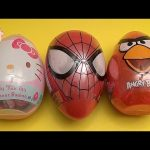 Opening 3 JUMBO Surprise Eggs! Hello Kitty Spider-Man and Angry Birds!