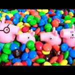 Peppa Pig & George Swimming in a Pool of M&M's Chocolate Surprise MLP Kinder My Little Pony