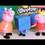 Peppa Pig Shopping for Frozen Shopkins at the Supermarket Mini Mart with Princess Anna Elsa