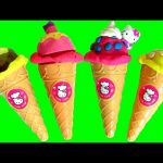 Play Doh Hello Kitty Ice Cream Cone Surprise Peppa Pig & Princess Sofia Play Dough Kids Toys