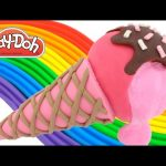 Play-Doh How to Make a Pink Cone with Pink Jelly Slime Ice Cream * Creative for Kids RainbowLearning