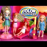 Princess Anna Elsa Belle Ariel Magic Clip Dolls Using Color Changers Polly Pocket Makeover Magiclip