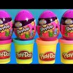 Shopkins Surprise Eggs Season 2 using Play Doh Unboxing Review Huevos Sorpresa with PlayDough