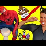 SPIDERMAN Maid Funny Toothbrush in Toilet Prank on Catwoman Superheroes In Real Life IRL