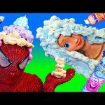 Spiderman vs Elsa Real Mr Bubble Foam Hair Challenge Fun Superhero In Real Life
