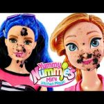 GROSS! Anna and Barbie eat Worms in Dirt Dessert Yucky Yummy Nummies Treat by DCTC