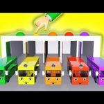 Little Bus Garage Station 3D Toys Playset Learn Colors for Children Wheels On The Bus Nursery Rhymes