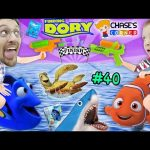 Chase's Corner: FINDING DORY DISNEY TOYS BATTLE w/ Sharks & Soggy Cereal Swim (#40) | DOH MUCH FUN