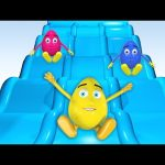 Giant Slide 3D Surprise Eggs Learn Colors Balls for Children 1 HOUR Indoor Playground Family Fun