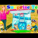 PAW PATROL Nickelodeon Paw Patrol Surprise Tent a Paw Patrol Surprise Egg Toys Video