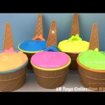 Clay Slime Ice Cream Surprise Cups with Toys Mermaids