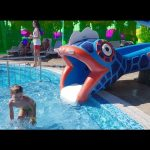 Water park for kids with snake slider. Funny video 2016