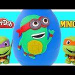 TMNT Play Doh Mega Raphael Surprise Egg Ninja Turtles Minions! Giant Egg Surprise Toys by DCTC