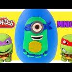 TMNT Play Doh Mega Leonardo Surprise Egg Ninja Turtle Minions! Giant Egg Surprise Toys by DCTC