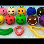 Learning Colours with Play Doh Apples Smiley Face with Banana Strawberry Pear Cutters Fun & Creative
